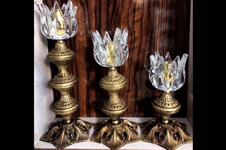 شمعدان پایه برنزی قلعه