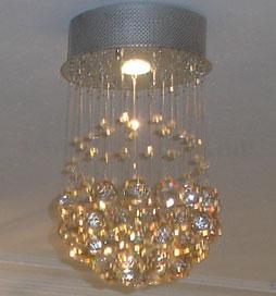 لوستر ریسه ای کریستالی کره تک لامپ
