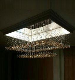 لوستر ریسه ای کریستالی مستطیل الماسی