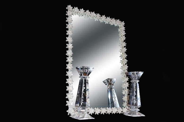 آینه شمعدان چهارگوش گلدار برجسته