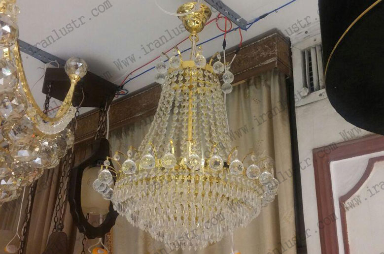 لوستر کریستالی نگین طلایی سایز 40