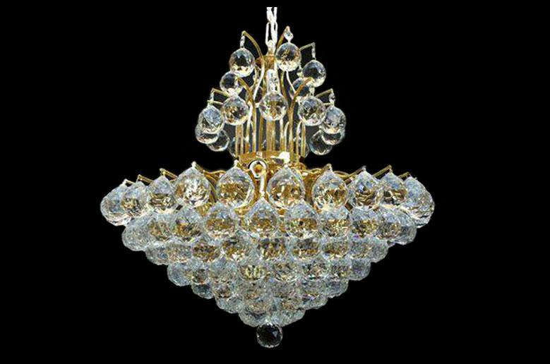 لوستر کریستالی- ترنج-طلایی -سایز-60