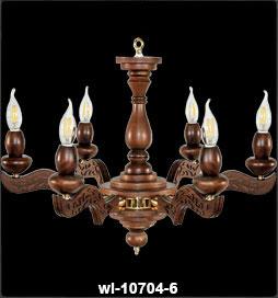 لوستر چوبی 10704 شش شعله مدل ایتالیایی