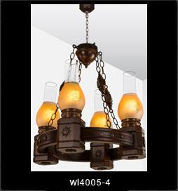 لوستر چوبی 4005 چهار شعله (روستیک دارکار)