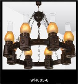 لوستر چوبی 4005 هشت شعله (روستیک دارکار)