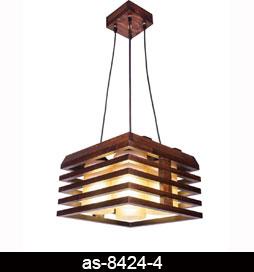لوستر آویز چوبی 8424 چهار شعله