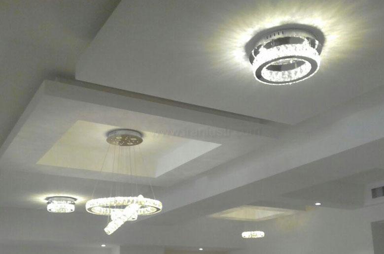 سقفی و دیوارکوب مدرن کریستالی با طرح دایره