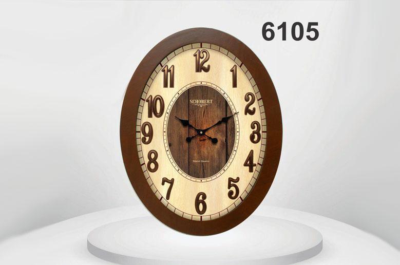 ساعت دیواری چوبی بیضی 6105
