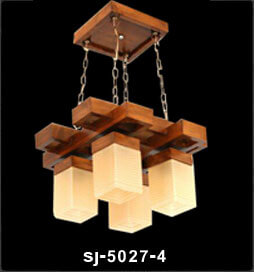 لوستر چوبی sj5027 چهار شعله(الینا)