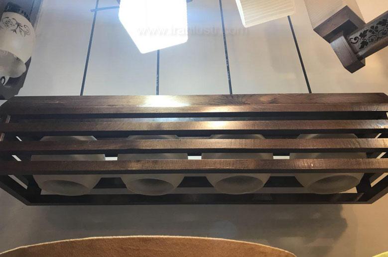 لوستر آویز چوبی 8424 خطی چهار شعله