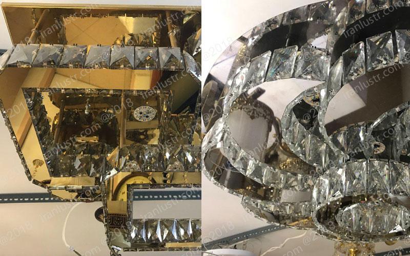 سینی استیل طلایی و نقره ای مورد استفاده در لوستر سقفی مدرن