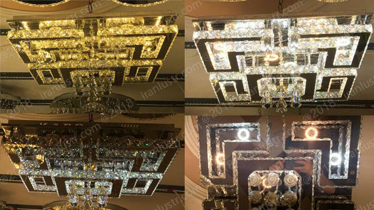 تنوع نور لوستر سقفی مدرن کریستالی